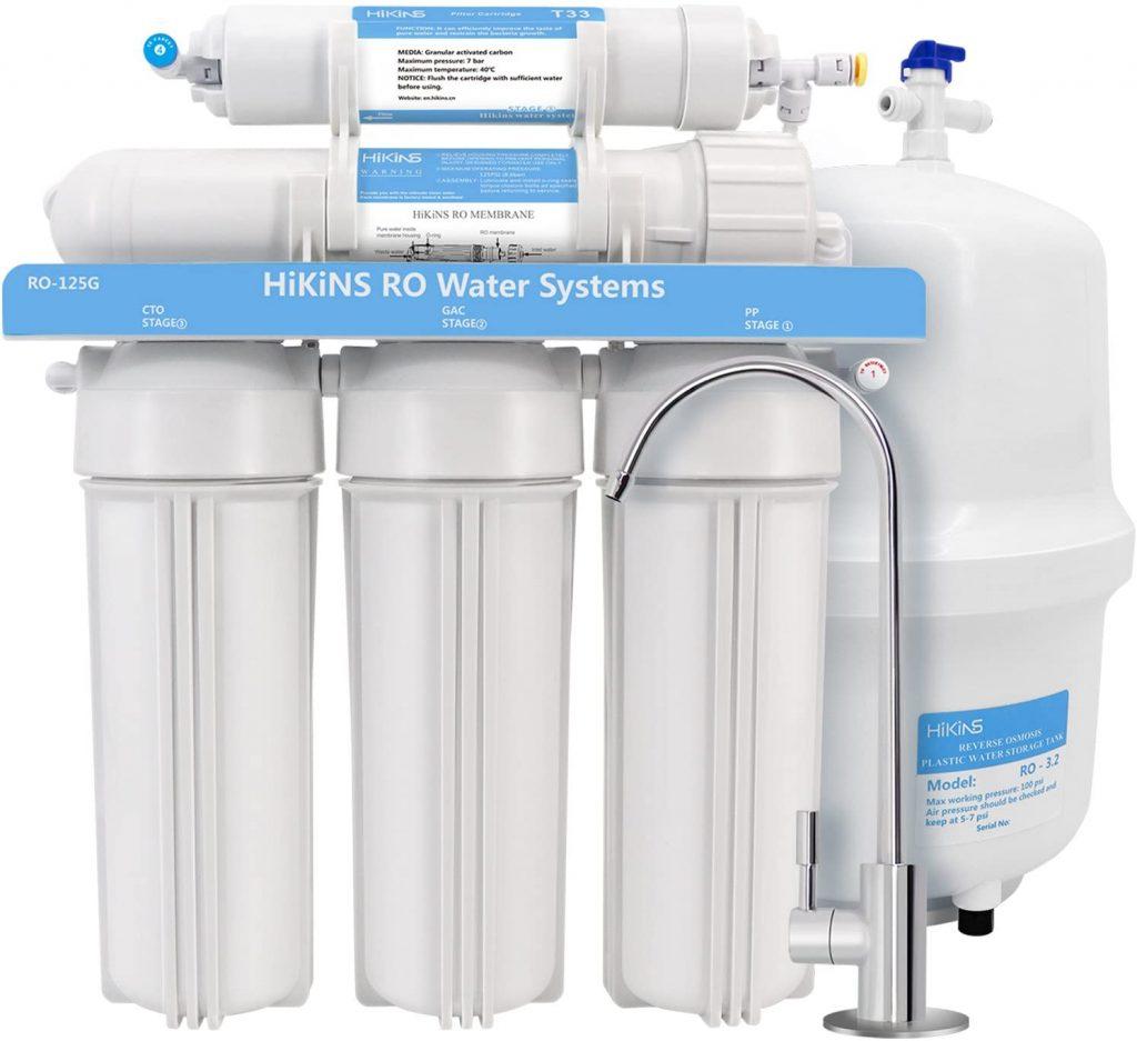 HiKiNS Sistema de filtración de Agua de ósmosis inversa RO-125G Sistema de 5 etapas para Beber en casa con Gran Flujo de Membrana de 125 GPD y...